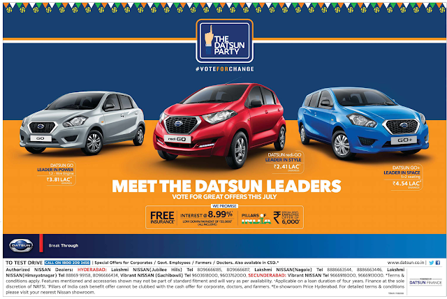 Nissan Datsun cars GST offers | July 2017 discounts
