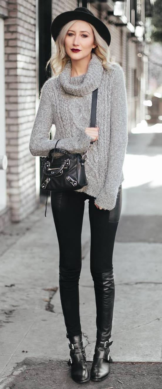 fall fashion trends: hat + knit + bag + black skinnies + boots