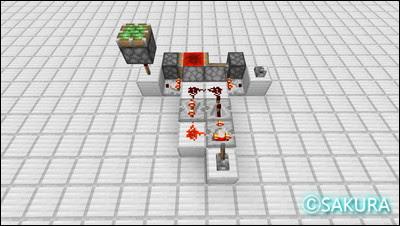 マインクラフトのクロック回路、ラブドロッパーとコンパレーターを使った約30分間隔のクロック回路