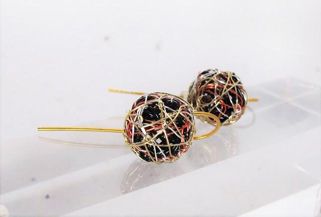 14k gold ball earrings, art earrings