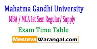 Mahatma Gandhi University MBA / MCA 1st Sem Regular/ Supply Exam Time Table 2017