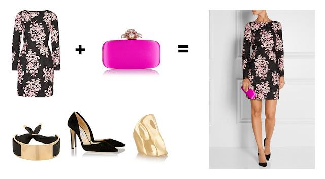 Сочетание платья с розовым принтом и ярко-розовой сумки