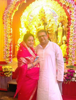 Agnideb Chatterjee and his wife in his family puja