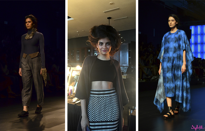 Models wear women's fashion clothing for Suhani Pittie, Ashish Soni and Kallol Dutta at Lakme Fashion Week in Mumbai India