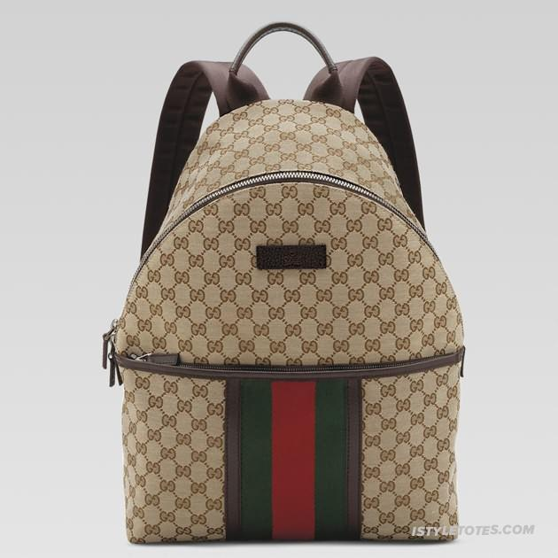 719728ad518c06 Gucci Medium Backpack with Signature Web Detail 190278 in Beige/Brown