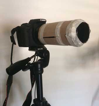 Homebuilt, Slip on - Slip off solar filter for photographing the 2017 solar eclipse (Source: Palmia Observatory)