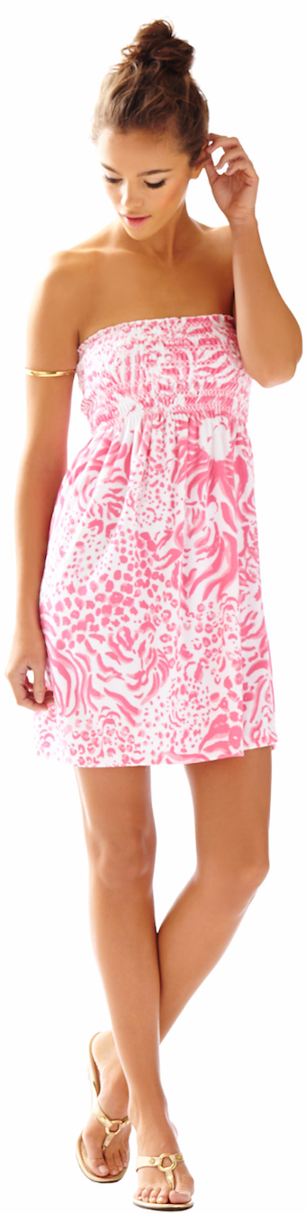 LILLY PULITZER BRIGITTE STRAPLESS SMOCKED DRESS GET SPOTTED