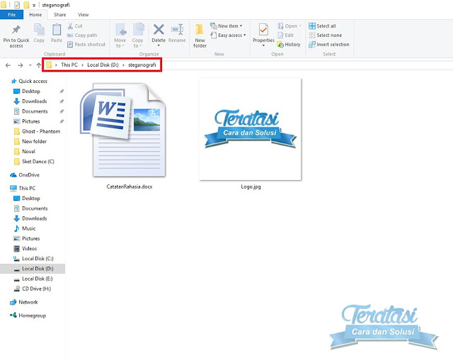 Simpan File Dan File Gambar Pada Direktori Yang Sama - Teknik Steganografi : Cara Menyembunyikan File ke dalam File Gambar - Teratasi.com