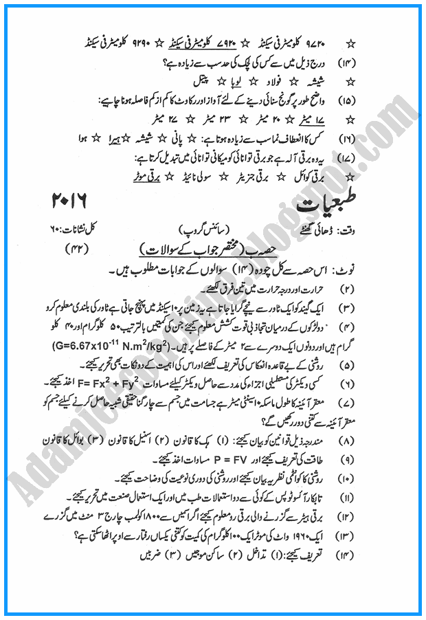 x-physics-urdu-past-year-paper-2016
