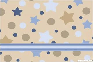 Estrellas Beige y Azul: Invitaciones para Imprimir Gratis.