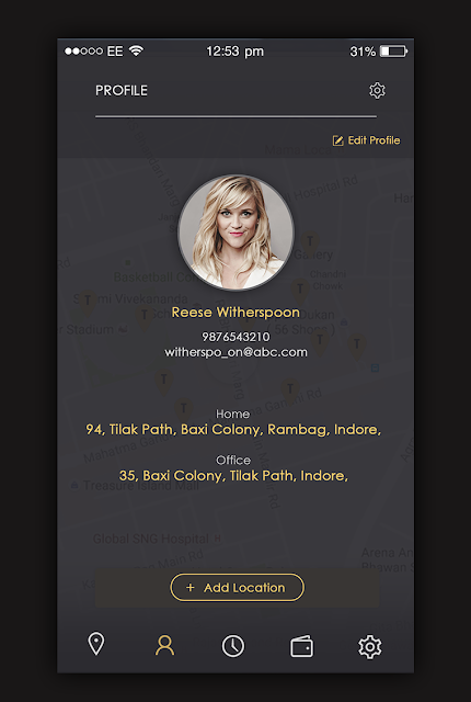 Taxi App Profile Screen