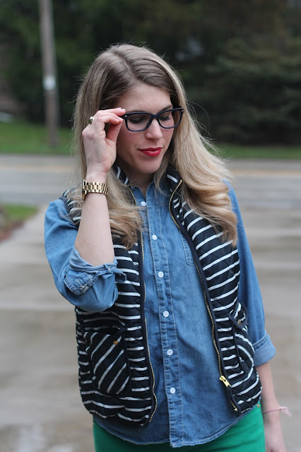 striped vest, chambray, green jeans, Tory Burch tote, glasses