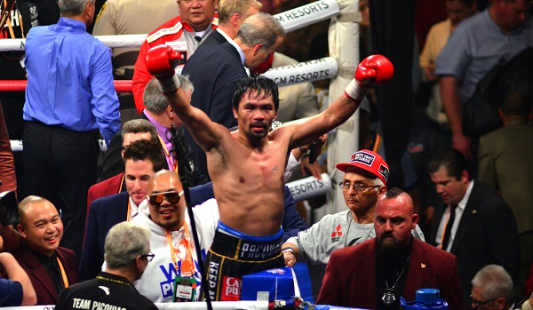 Eight-division champion Manny Pacquiao celebrates his win over Adrien Broner on January 19, 2019. Photo credit: German Villasenor