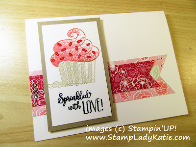 Card made with Stampin'UP!'s Hello Cupcake Stamp Set and All My Love Designer Paper byStampLadyKatie