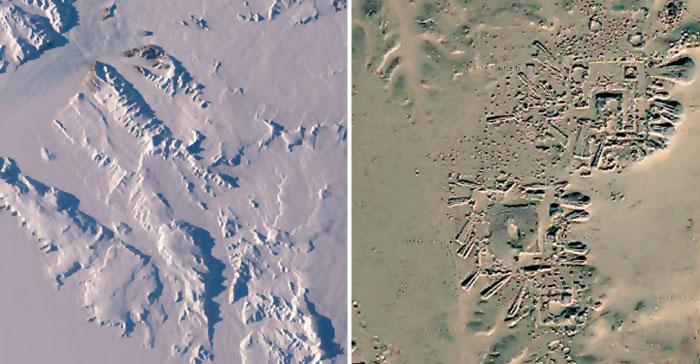 Los restos de una antigua civilización que prosperó en la Antártida antes de que sea cubierta por kilómetros de hielo.