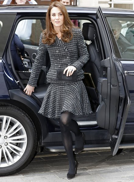 Alexander McQueen boucle tweed jacket and skirt, Tod's Suede pumps, Kiki diamond earrings
