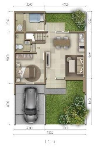 Denah rumah minimalis ukuran 7x11 meter 4 kamar tidur 2 lantai