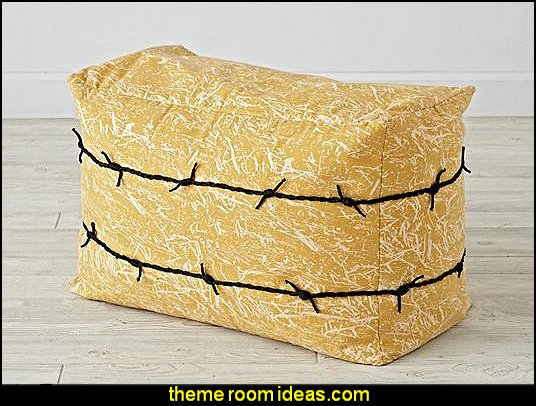 bale of hay seat cowboy theme bedrooms - rustic western style decorating ideas - rustic decor - cowboy decor - Cowboy Bedding Western bedroom decor - horse decor - cowboy wall murals horse wall murals