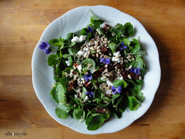 sałatka z jadalnych kwiatów, wiosenna sałatka, fiołki przepis, sweet violet salad recipe, viola odorata