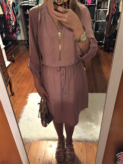 mauve pink zipper dress ootd