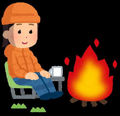 焚き火をしている人のイラスト(冬・女性)