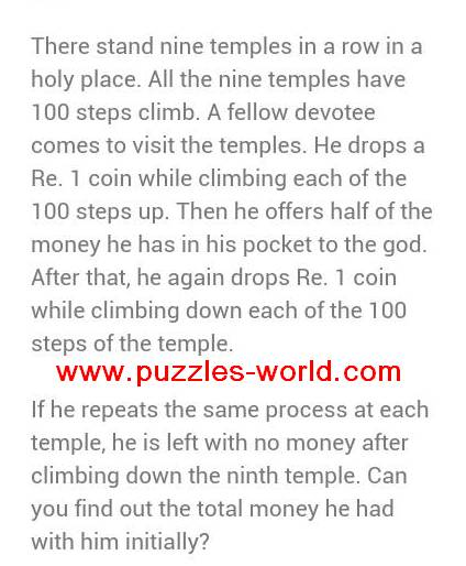 Nine temples in a row puzzle