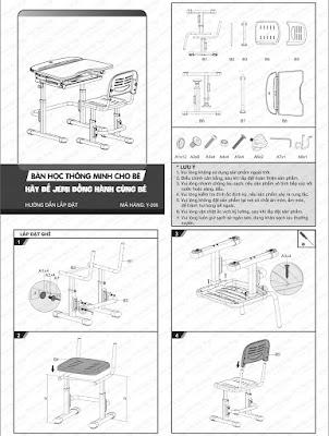 bảng hướng dẫn lắp ráp bàn học thông minh cho bé