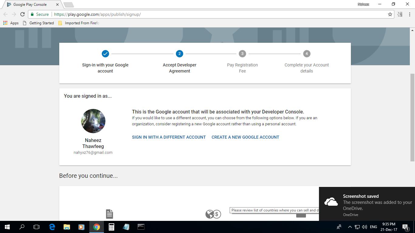 Naheez Thawfeeg's Blog: Google Play Developer account