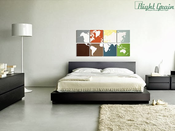 ديكور بخريطة العالم على لوحة خشبية