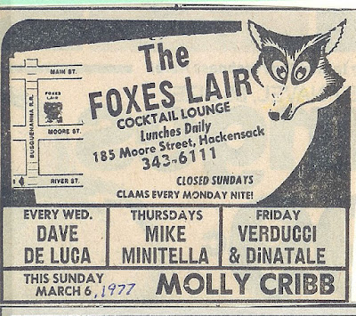The Foxes Lair in Hackensack, New Jersey band lineup March 1977