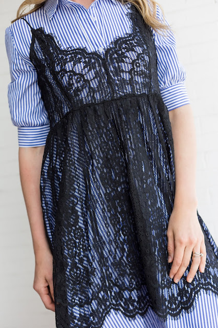love the lace overlay over the striped dress!