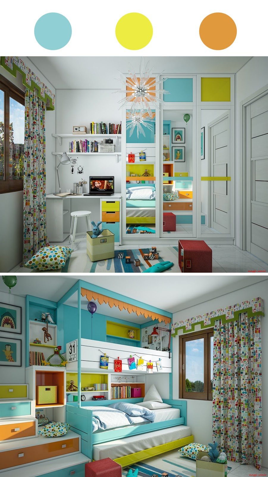 quarto infantil azul, amarelo e laranja