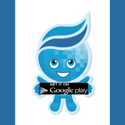 "Rio Salado mascot Splash is standing, smiling and holding a sign that that says, ""Get it on Google Play."""