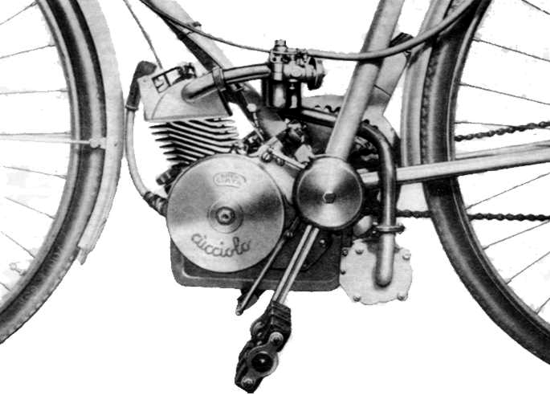 Ducati Cucciolo engine on bicycle