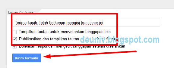 menu pilihan tanggapan google form