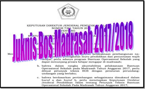 Juknis Bos Madrasah 2017/2018