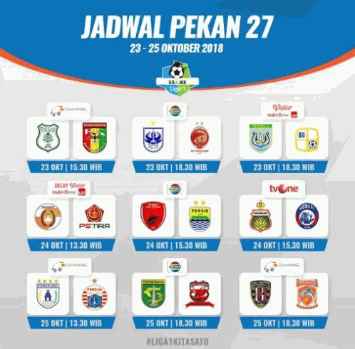 Jadwal Liga 1 Indonesia Pekan 27 Live Indosiar, TvOne, dan OChannel