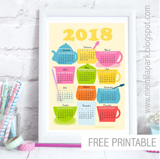 2018 Kitchen calendar