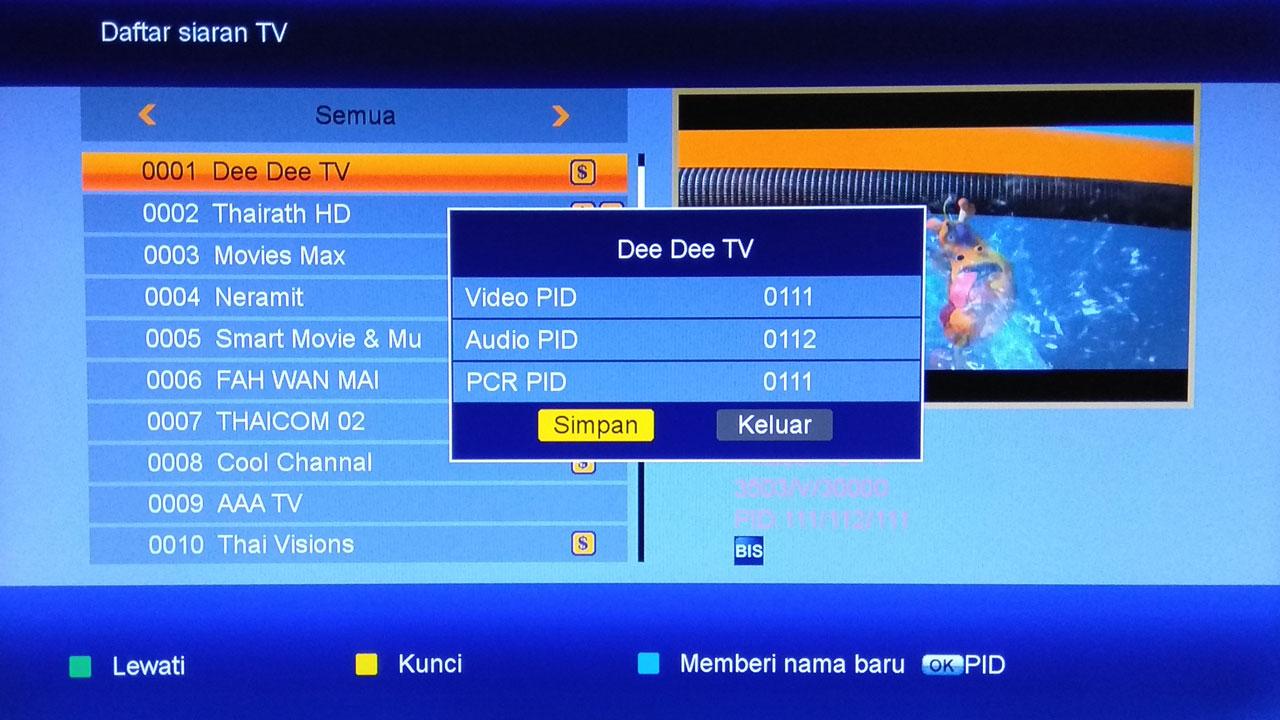 Cara Membuka Channel IPM C Band Thaicom 5 Receiver K5S