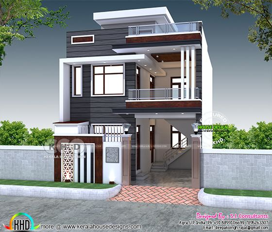 2200 sq-ft 4 bedroom India house plan modern style