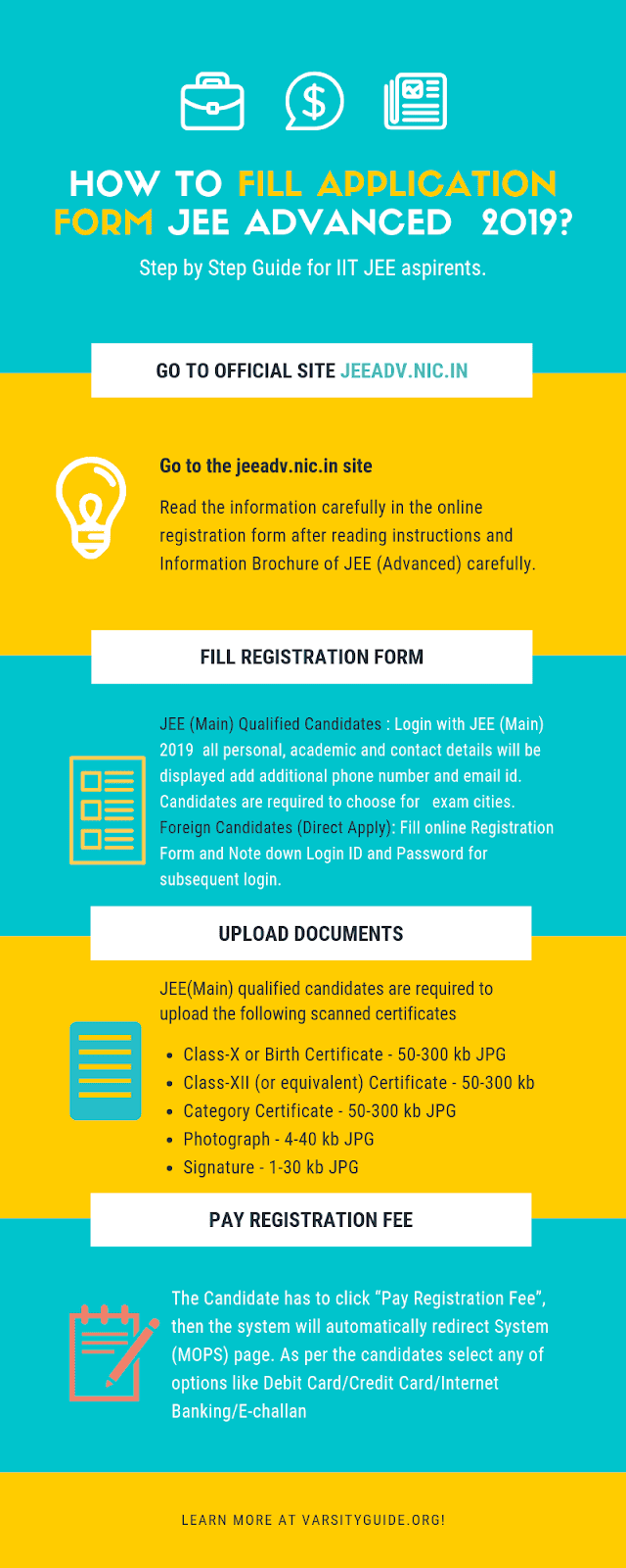 JEE ADVANCED Application form 2019 - In this infographyics we provide infomation how to fill jee advanced step step process to fill regitration
