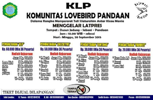 kali ini kami memperlihatkan gosip terkait  Jadwal dan Brosur Lomba Burung KLP Pandaan, Jawa Timur