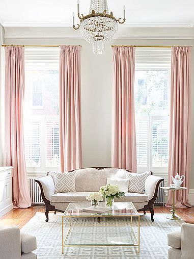 I Am Not Sure Where This Interior Is From But It Is Just Gorgeous With The  Pink Drapes And Gold Hardware .