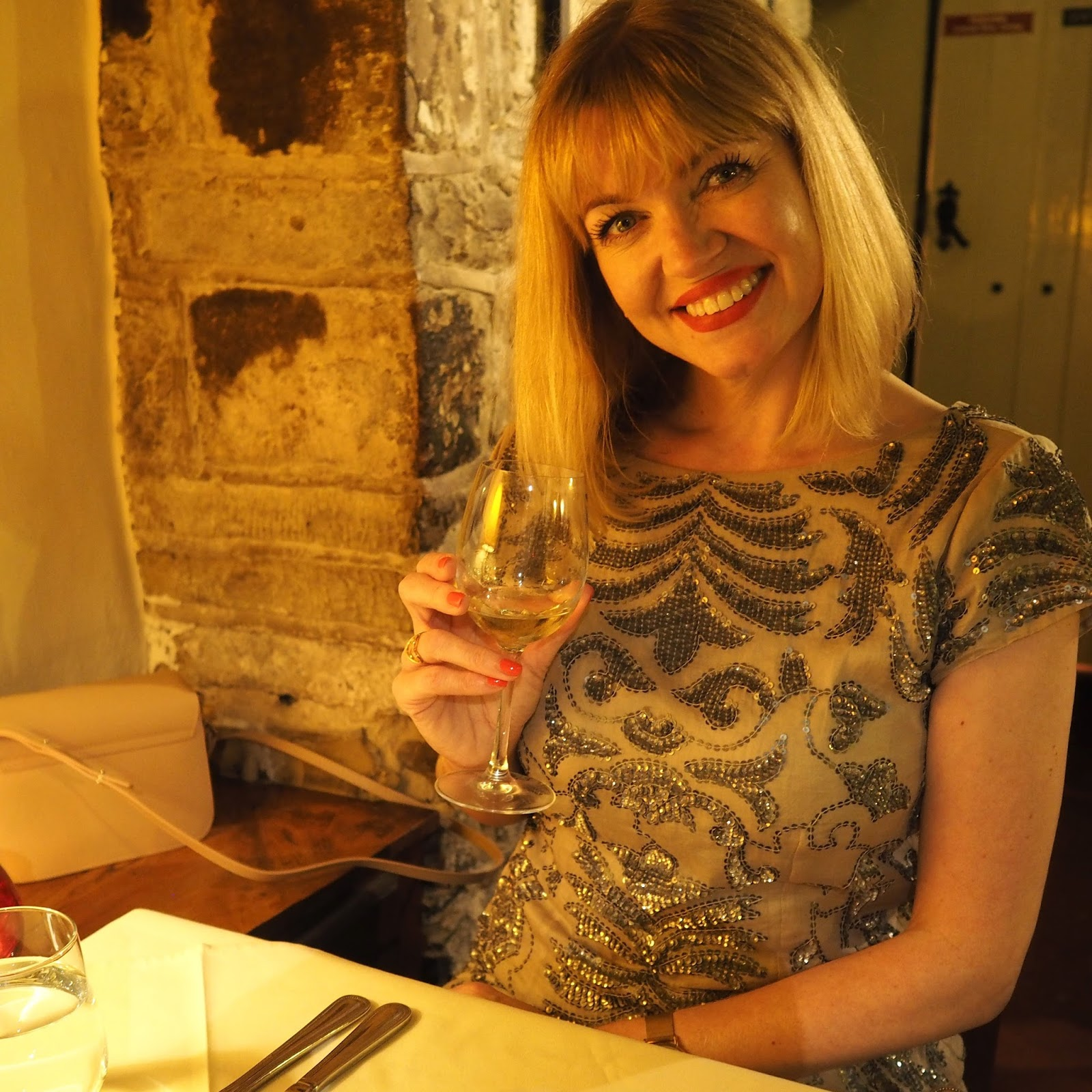 Sequinned dress for dinner at Le Caveau French restaurant in Skipton