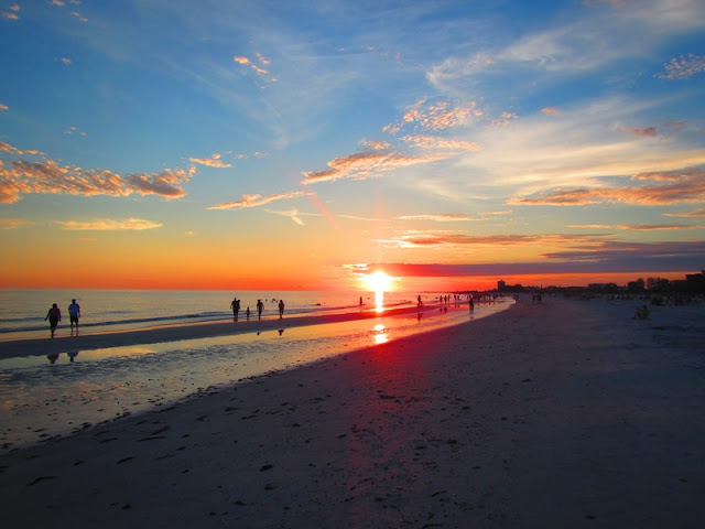Beautiful Golden Sunrise at Siesta Key