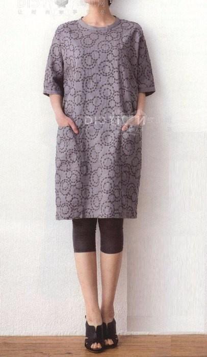 8306a510fb7 Выкройка-шаблон платья-туники с цельнокроеными рукавами и застежкой на  спинке