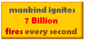 mankind ignites 7 Billion  fires every second