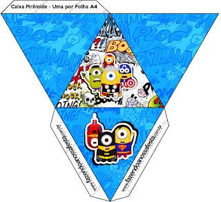 Caja con forma de pirámide de Minions Super Héroes.