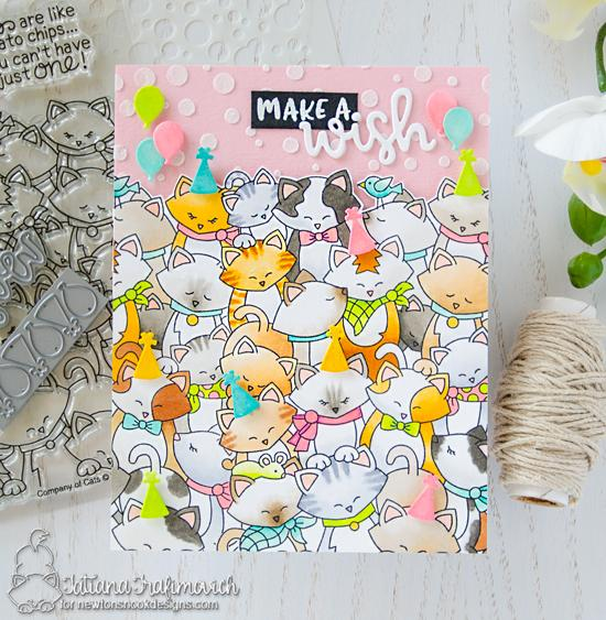 Make a Wish Card by Tatiana Trafimovich | Cat birthday card using Company of Cats Stamp set and Balloon Shaker Die Set by Newton's Nook Designs #newtonsnook #handmade
