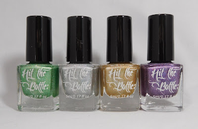 Hit The Bottle holographic stamping polishes in Lucky Spark, Holo There Beautiful, A Glint Of Gold, Amethyst Sizzle